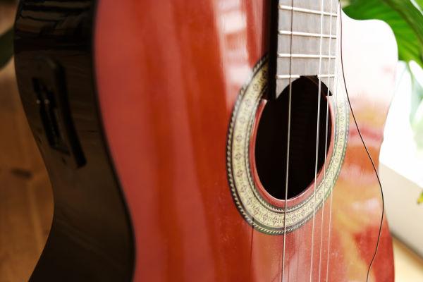 guitar with broken string